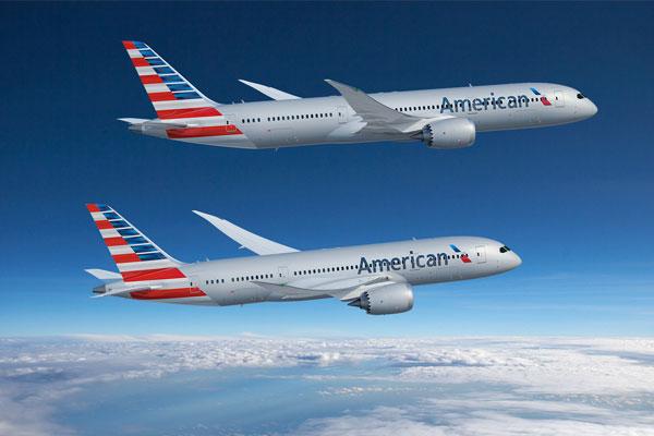 アメリカン航空のボーイング787-9型機と787−8型機