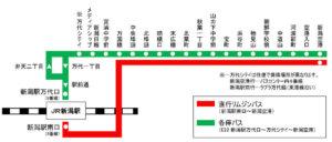 新潟駅~新潟空港路線図(出典:新潟交通)