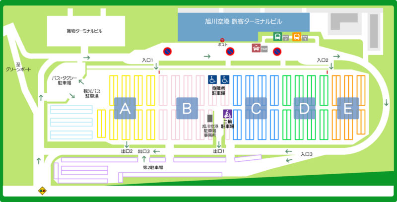 旭川空港駐車場Map(出典:旭川空港公式サイト)