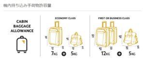 機内持ち込み手荷物:エティハド航空公式サイトより引用