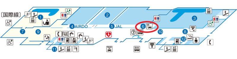 帯広空港レンタカーカウンター地図(出典:帯広空港公式サイト)