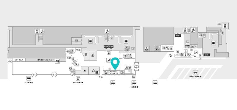 函館空港レンタカー会社地図(出典:函館空港公式サイト)