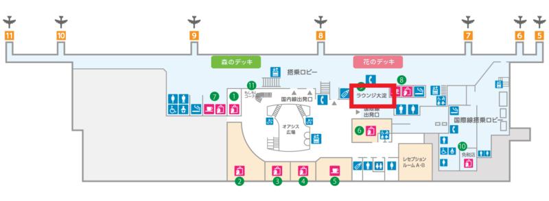 ラウンジ大淀地図(宮崎空港公式サイト)